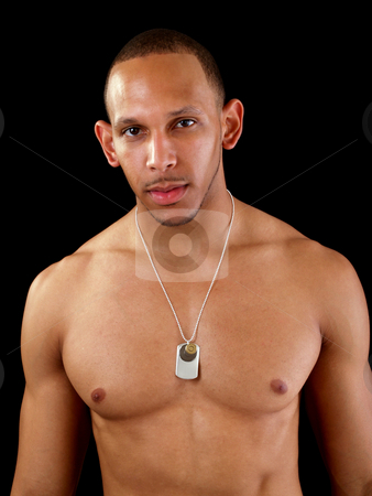 Young black man without shirt muscular build stock photo, No shirt young black man with chain necklace strong by Jeff Cleveland