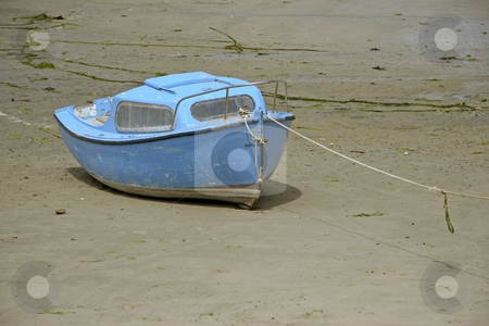 Low tide in port, blue boat, Brittany, Northern France stock photo, Loctudy, Low tide in port, blue boat, Brittany, Northern France by Lothar Hinz