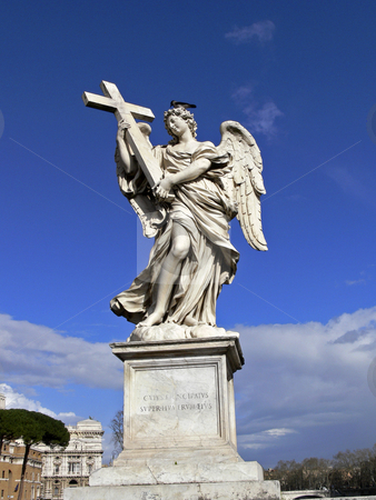 Aelian Bridge, Rome, Ponte Sant'Angelo with angels stock photo, Aelian Bridge, Rome, Ponte Sant'Angelo with angels by Lothar Hinz