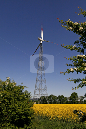 Wind power station with rape field in Bad Iburg, Lower Saxony, Germany stock photo, Wind power station with rape field in Bad Iburg, Lower Saxony, Germany by Lothar Hinz