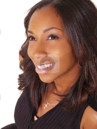Young Black Woman Portrait Smiling stock photo, Young black woman smiling portrait by Jeff Cleveland