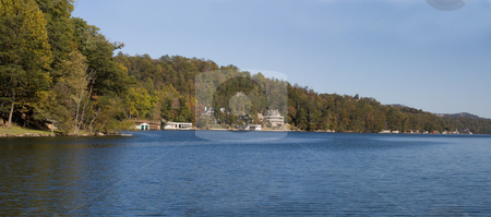 Lake lure panoramic stock photo, Fall panoramic view of Lake Lure in North Carolina by Lee Barnwell