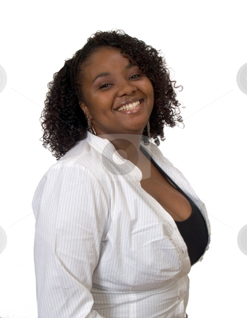 Young Black Woman Smiling in white shirt stock photo, Young Black Woman with Smile and White Shirt by Jeff Cleveland