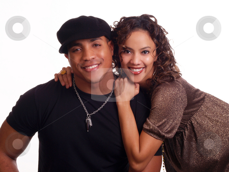 Young black man and hispanic woman couple stock photo, Portrait of young black man and hispanic woman couple by Jeff Cleveland
