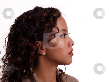 Profile Portrait of Young Hispanic Woman stock photo, Young Pretty Hispanic Woman Profile Portrait by Jeff Cleveland