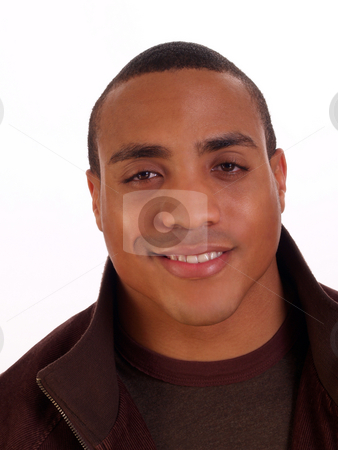 Young Black Man Smiling Portrait in Jacket stock photo, Strong Athletic Young Black Man Smiling Portrait by Jeff Cleveland