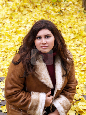Young Woman in Jacket with Yellow Leaves Background stock photo, Young Woman on bench with Yellow Leaves Background by Jeff Cleveland