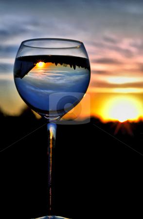 Cheers Mr Sun stock photo, Reflection of Sun in a Wine Goblet, O'Fallon, Missouri by Bibhash Chaudhuri