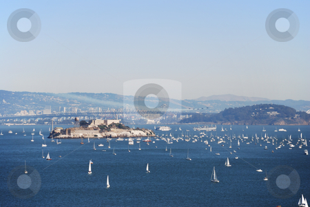 Alcatraz stock photo, A view on Alcatraz, San Francisco and Bay Bridge by Ivan Paunovic