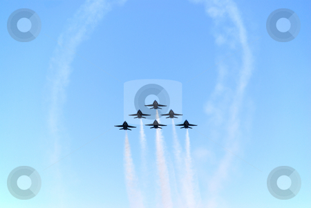 Air show stock photo, A formation of airplanes on a blue sky by Ivan Paunovic