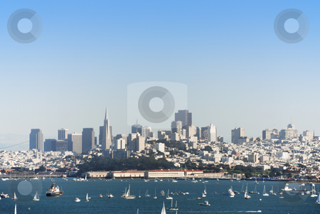 San Francisco stock photo, A view on San Francisco and bay with many boats by Ivan Paunovic