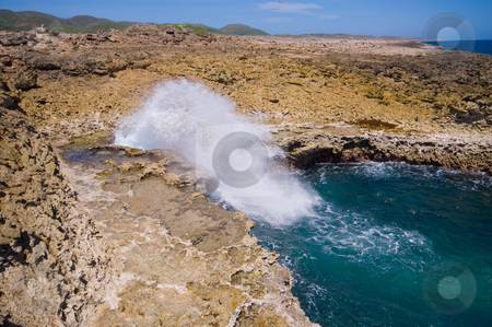 Boca shete national park curacao  stock photo, Boca shete national park curacao sea inlet called the pistol by Karin Claus