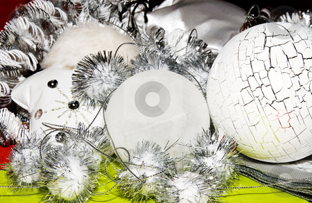 Xmas decoration ornaments   stock photo, Xmas decoration ornaments in white and silver and lime and little bit red by Karin Claus
