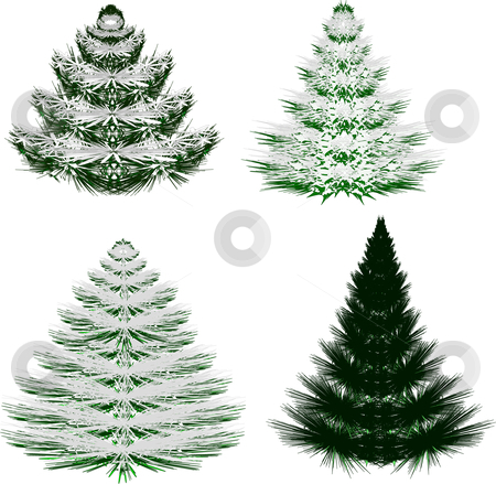 Set of four vector Christmas trees stock vector clipart, Set of four vector Christmas tree style trees with snow on their branches by Michelle Bergkamp