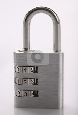 Padlock stock photo, A padlock set to a combination of 1, 2, 3 locked on a white background by John McLaird