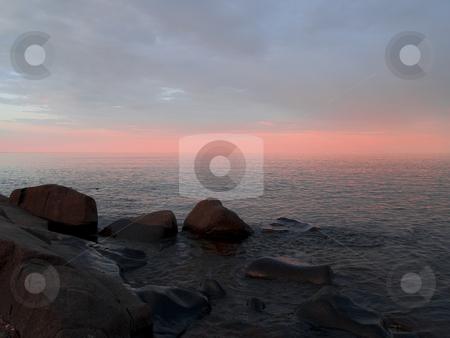 Infinity in Peach stock photo, Infinite pastel peach sunset on Lake Superior by John McLaird