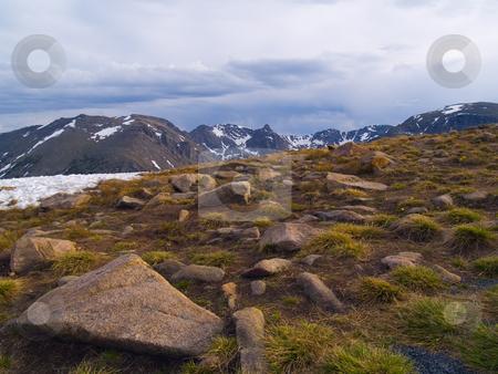 Rain Over Alpine Tundra stock photo, Rain over the alpine tundra on Trail Ridge in Rocky Mountain National Park. by John McLaird