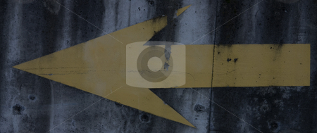 Yellow Painted Arrow stock photo, Yellow arrow painted on cement. by Julie Bentz