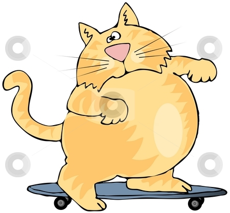 Skater Cat stock photo, This illustration depicts a yellow cat on a skateboard. by Dennis Cox