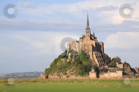 Mont-Saint-Michel stock photo, Le Mont-Saint-Michel in the daylight, side view by Tilo