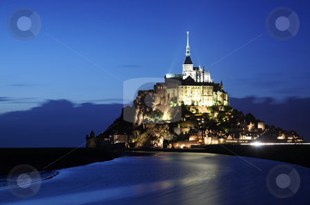 Mont-Saint-Michel stock photo, Le Mont-Saint-Michel in the twilight by Laurent Renault