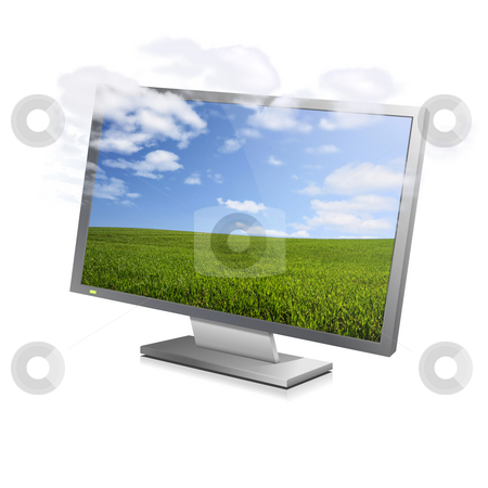 Cloudy screen stock photo, Clouds vanishing from a landscape displayed on a computer monitor by Tilo
