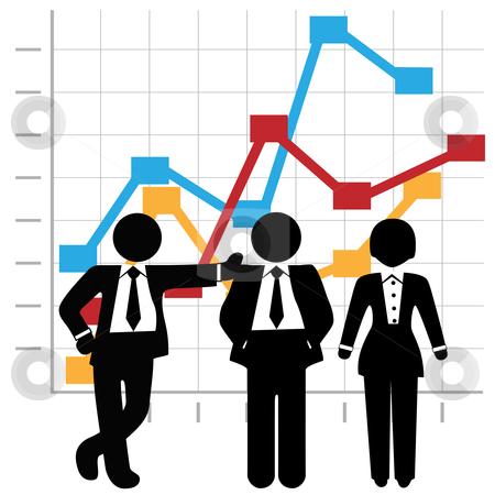 Business People Sales Team and Profit Growth Graph Chart stock vector clipart, Symbols of a team of 3 Sales people stand in front of a business profit prowth chart. by Michael Brown