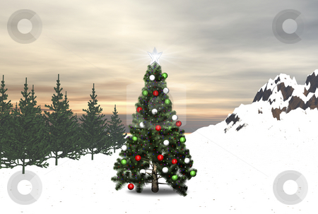 3D Decorated Tree stock photo, 3D Decorated christmas tree in forest by Cutcaster Account