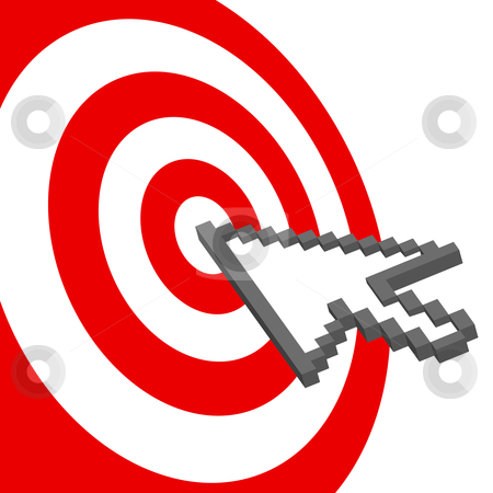 Cursor arrow points to select red target bullseye stock vector clipart, A pixel computer cursor icon clicks on the bullseye of a red target. by Michael Brown
