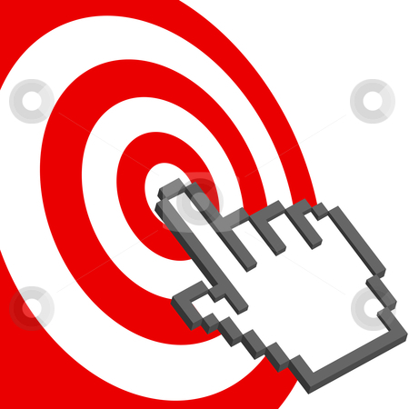 Cursor hand points to select red target bulls-eye stock vector clipart, A pixel computer cursor hand icon clicks on the bullseye of a red target. by Michael Brown