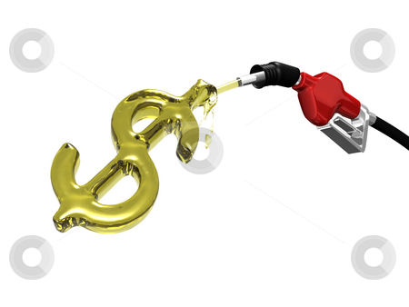 Gas nozzle filling a dollar sign on white stock photo, Gas nozzle filling a dollar sign on white background 3D by Cutcaster Account