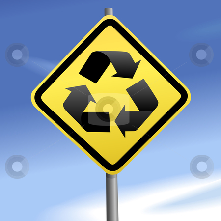 Directions to recycle on yellow traffic sign & blue sky stock vector clipart, Recycle arrows are directions on a yellow traffic sign against blue sky. by Michael Brown