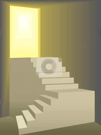 Flights of stairs up to a bright sun lit door stock vector clipart, Two flights of stairs symbolize freedom and progress as they climb to a door lit by bright yellow sun light. by Michael Brown