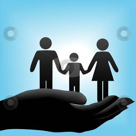 Mother father child family in cupped hand on blue background stock vector clipart, A family of mother, father, child symbols are held in a cupped hand on a blue background. by Michael Brown