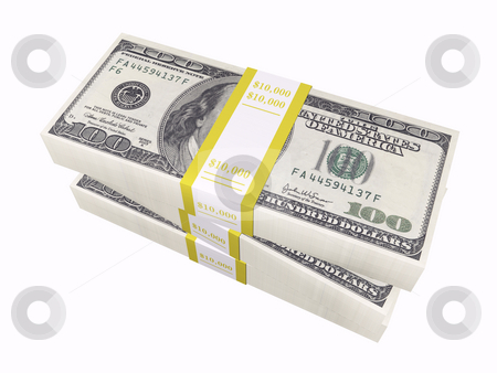 Stacked cash on white background stock photo, 3D stacked cash on a white background by John Teeter