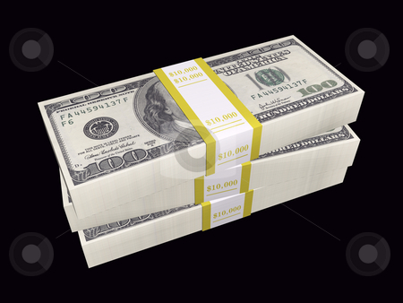 Stacked bills on black background stock photo, 3D stacked bills on a black background by John Teeter