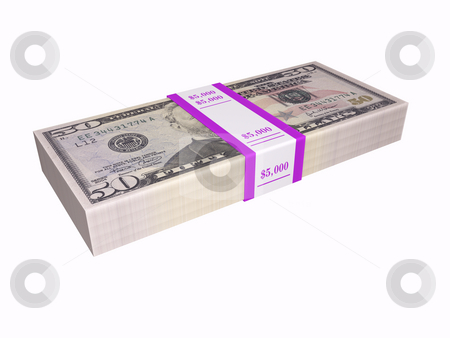 50 dollar bills stacked stock photo, 50 dollar bills stacked on white background by John Teeter