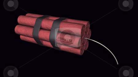 Dynamite on a black background stock photo, 3D illustration of dynamite on a black background by John Teeter