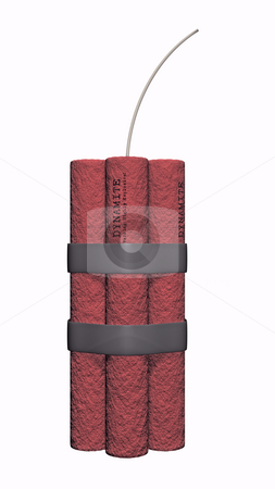 Dynamite on a white background stock photo, 3D illustration of dynamite on a white background by John Teeter