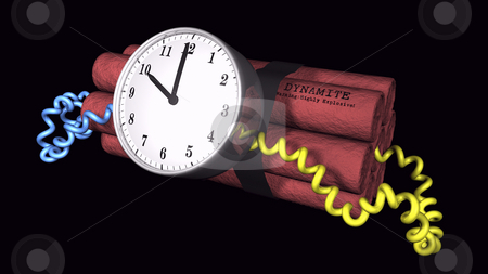 Ticking Time bomb on black stock photo, 3D illustration of a time bomb on black background by John Teeter