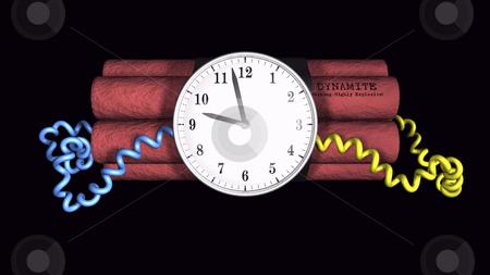 Ticking Time bomb illustration on black stock photo, 3D illustration of a time bomb on black background by John Teeter