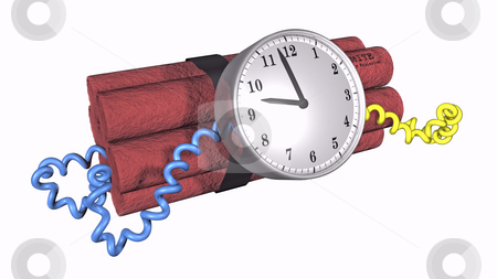 Ticking Time bomb  stock photo, 3D illustration of a time bomb on white background by John Teeter