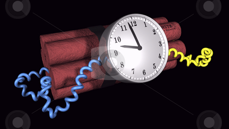 Ticking Time bomb illustration stock photo, 3D illustration of a time bomb on black background by John Teeter
