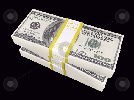 100 dollar bills stacked on black background stock photo, 3D stacked bills on a black background by John Teeter