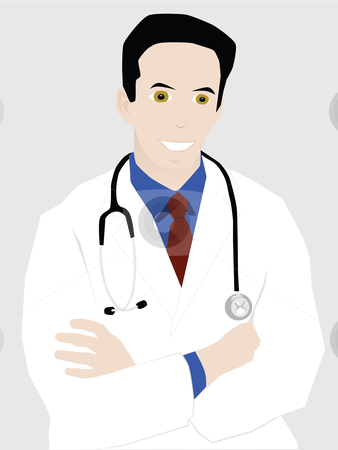 Successful young doctor stock vector clipart, Vector illustration of young male doctor smiling with arms crossed by Bruno Marsiaj