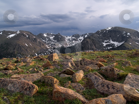 Alpine Tundra stock photo, A stormy evening on the alpine tundra of Trail Ridge, Rocky Mountain National Park. by John McLaird