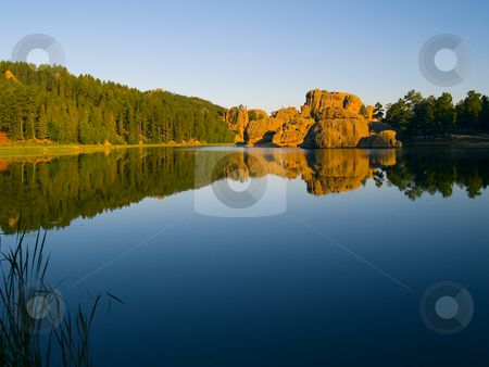 Sylvan Lake Shore stock photo, Early morning from the shore of Sylvan Lake in the Black Hills of South Dakota by John McLaird