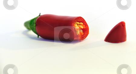 Cut chili stock photo, A red chili cut open by Per W?