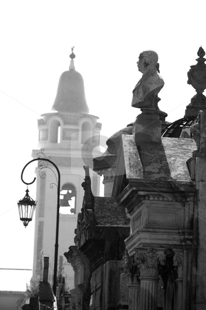 Cementerio de la Recoleta - Recoleta Cemetery stock photo, Burial crypts in front of the church bell tower inside the famous above-ground cemetery of Recoleta in central Buenos Aires Argentina by Lee Torrens