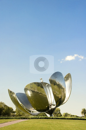 Buenos Aires Flower Sculpture stock photo, Large metal flower sculpture located in Recoleta, Buenos Aires, Argentina by Lee Torrens